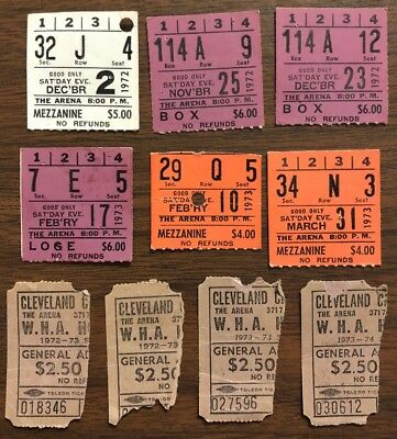 Lot of Vintage WHA Ticket Stubs 1972-74 Cleveland Crusaders The Arena Cleveland
