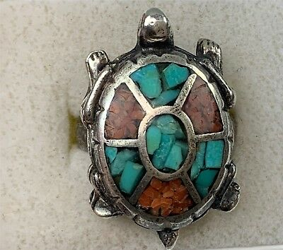 Native American Sterling Silver, Coral & Turquoise Turtle Shape Ring, Size 7