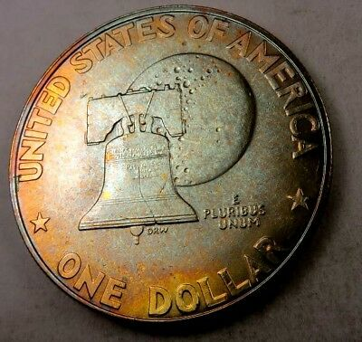 1976-S SILVER Eisenhower (Ike) Dollar // Gem BU *Rainbow Toned* // (IE285)