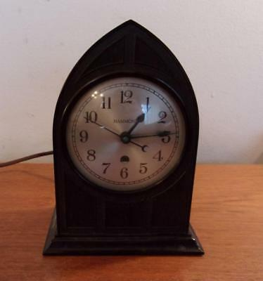 Hammond Art Deco Brown Bakelite Mantle Clock Spin Start