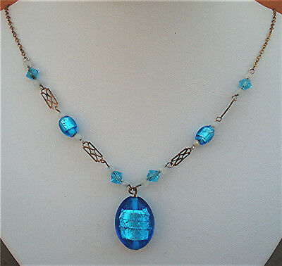 ART DECO TURQUOISE FOIL OVAL DROP TRELLIS LINK NECKLACE Vintage 1930 Wear Repair