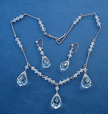 ART DECO CLEAR CRYSTAL DROPS NECKLACE & EARRINGS SET R/Gold Wired VINTAGE 1930s