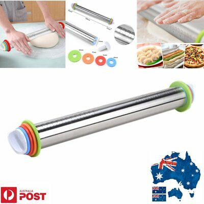 17in Adjustable Steel Rolling Pin & 4Pcs Removable Rings Dough Pizza JD#W