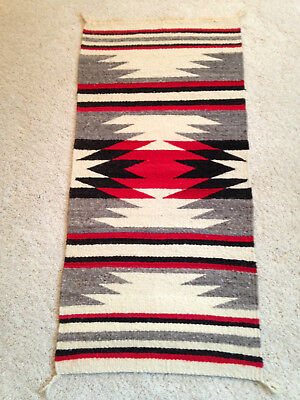 "Navajo Rug Gallup Throw Textile 35"" X 17"" Vintage"