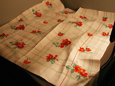 VINTAGE COTTON LUNCHEON TABLE CLOTH - 33X36 - GREEN  STRIPS W/ RED FLOWERS  t 34