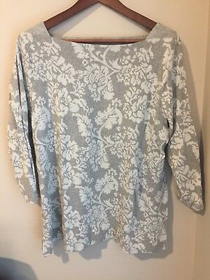 abfa3b4a761 St. Johns Bay Womens Sweater Gray White Floral Print 3 4 Sleeve Size XL