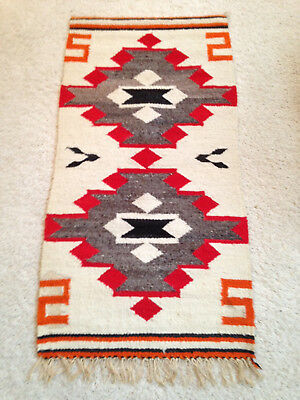 "Navajo Rug Gallup Throw Textile 35"" X 18"" Vintage"