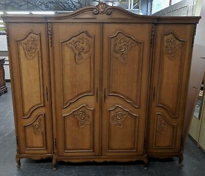 Superb Large Louis XV Oak 4 Door Wardrobe Armoire, Flat Pack, Fresh from France!
