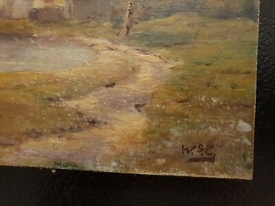 Winston Churchill Original vintage landscape oil painting hand signed No print !