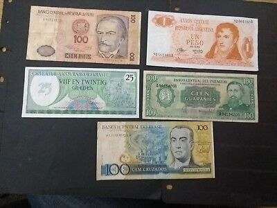 South America 5 different banknotes set B