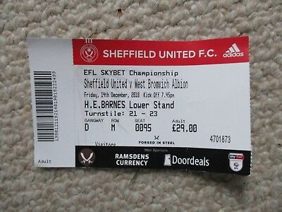 Sheffield United v West Bromwich Albion 2018/19 Championship Used Ticket
