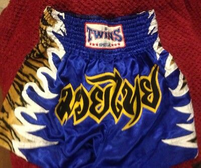 Twins Special Muay Thai Boxing Shorts Blue - 4 Large ~ USED !