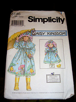 Uncut vintage 8146 '98 Daisy Kingdom coat & hat sewing pattern for girl & doll