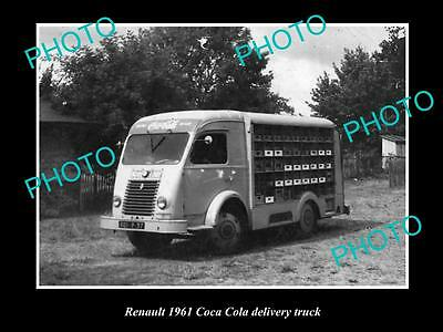 OLD LARGE HISTORIC PHOTO OF RENAULT COCA COLA DELIVERY TRUCK c1961