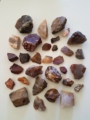 400g. - Mixed Lot Jaspers, Agate, Flint, White Opal, Blue Owyhee Opal - Oregon