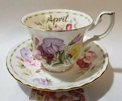 Royal Albert Flower Of The Month Series April Sweet Pea Flowers Tea Cup Saucer