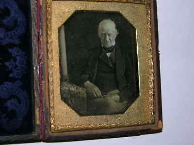 1/6 Plate Daguerreotype of a Old Man in Suit with Blue Velvet Clear Image