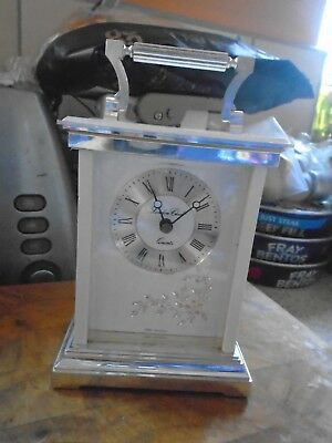 London Clock Quartz Mantel Carriage Clock, White & Silver Case