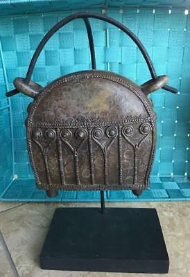 ~MGJ~ ANTIQUE~ Bronze Bell on a Wooden Stand w-Beaded Edges & Heart Carvings