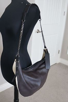 NEW Halston Heritage 2 Tone Brown Beige SOFT Leather Large Sack Hobo Hand Bag
