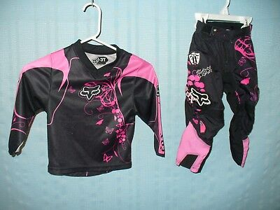 Rare Fox Racing Toddler Girl Motorcycle Gear Pants 2/3 & Jersey 3 Pink Butterfly