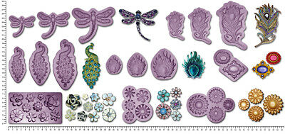 BROOCH DRAGONFLY PEACOCK FEATHER flowers JEWEL Craft Cake Decorating Mould Mold