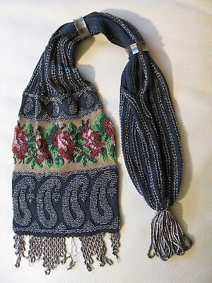 Antique Textile Rose Floral Knit French Micro & Steel Bead Miser Purse 1800s