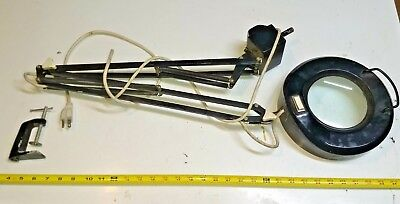 VINTAGE LUXO? Dazor? INDUSTRIAL FLUORESCENT MAGNIFYING LAMP w/CLAMP