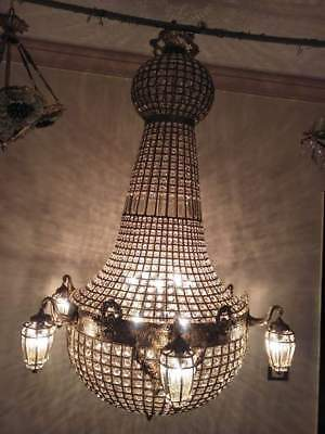 Gorgeous Chandelier French Antique Empire Refinished Brass Vintage Crystal Lamp