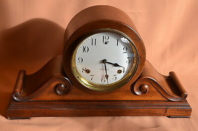 ANTIQUE SESSIONS 8 DAY TAMBOUR CHIME MANTLE CLOCK  with SCROLLS