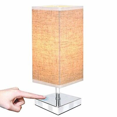 ZEEFO Touch Control Sensor Table Lamp, Simple Design Bedside Table Lamp with Tou
