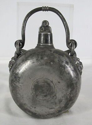 Antique 18th C 1700's Pewter Travel Flask w/Handle & Angel Hook Clasps NR  yqz
