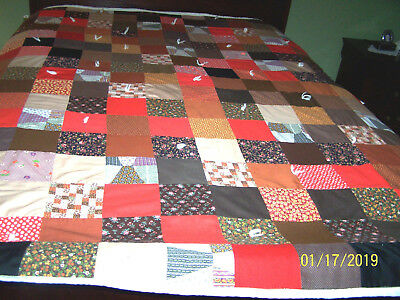 """Vintage Handmade Hand-Tied Patchwork Multi-Color Block Quilt - Size 90"""" X 74"""""""