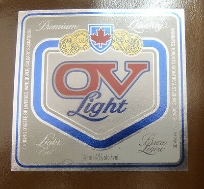 Vintage Canadian Beer Label - Carling O'keefe Brewery, Vienna Light Lager 341Ml