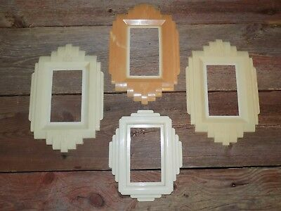 """4 Vtg ART Deco """"ProTecT-O-ShieLd"""" WaLL SwiTch PLATE OuTLiT Covers PLasTic 1940's"""
