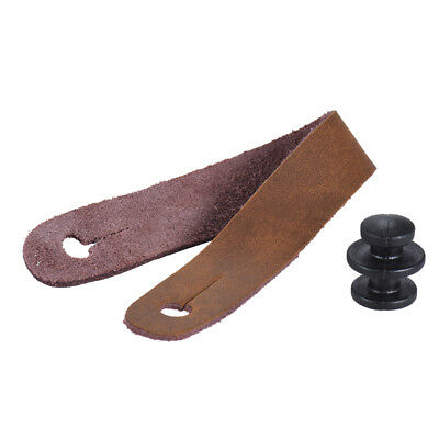 Leather Guitar Strap Button for Acoustic Electric Guitar Ukelele Bass Brown H7R2