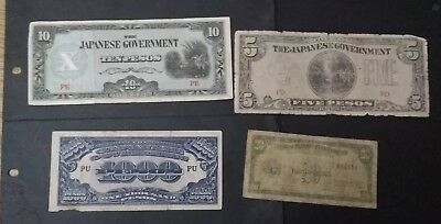 Philippines 4 different banknotes 1940s