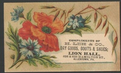H LEH & Co. Dry Goods Boots & Shoes Advertising TRADECARD LION HALL Allentown PA