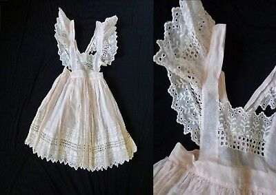 Sheer Pink EYELET Lace Vintage 1950's Girl's Easter PINAFORE Dress 5T