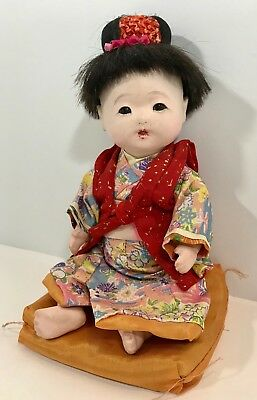 "Japanese Ichimatsu Geisha Girl 11"" String Jointed Composition Doll with Pillow"