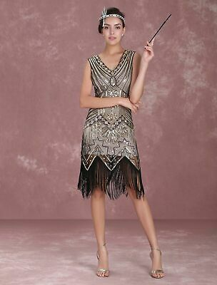 NEW 1920's Gold Vintage Gatsby Flapper Fancy Dress Costume Regular & Plus Size