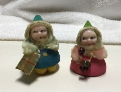 Vintage Pipe Cleaner Elves Gnomes Christmas Decorations Decor Set of 2