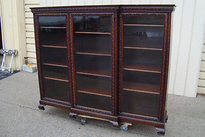 59799  Antique Mahogany Victorian 3 door Bookcase Curio Cabinet