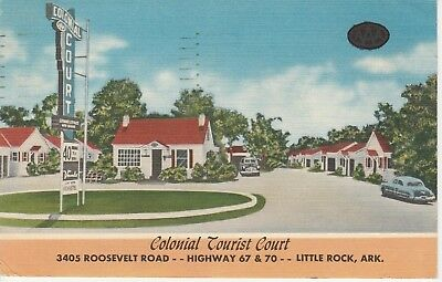 Colonial Tourist Court Roosevelt Rd Little Rock Arkansas AR 1958 Postcard Linen