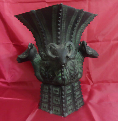 Antique Vintage French Cast Iron Rams Head Jardiniere Cachepot Planter or Stand