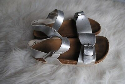 600efc9eb045 Girl s Old Navy Metallic Silver Gladiator Sandals- Size 13 Ankle Strap  Birk-like