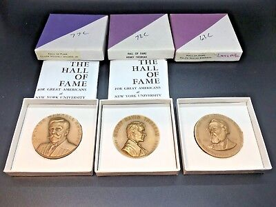 "Medallic Arts Co. Hall of Fame For Great Americans at NYU 1-3/4""  3 Medals"