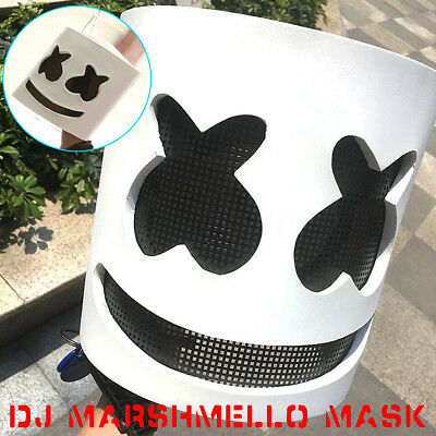 DJ Marshmello White Mask Halloween Cosplay Costume Latex Helmet Party Prop F7
