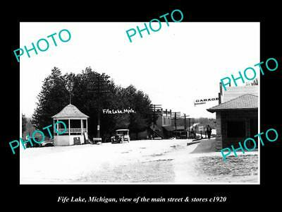 OLD LARGE HISTORIC PHOTO OF FIFE LAKE MICHIGAN, THE MAIN STREET & STORES c1920