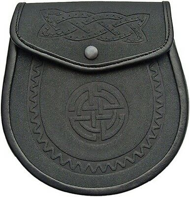 Celtic Irish Scottish Leather Sporran Waist Pouch Belt Chain Snap Close